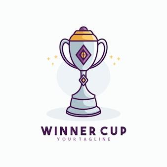 Vettore del modello del logo della linea della tazza del vincitore