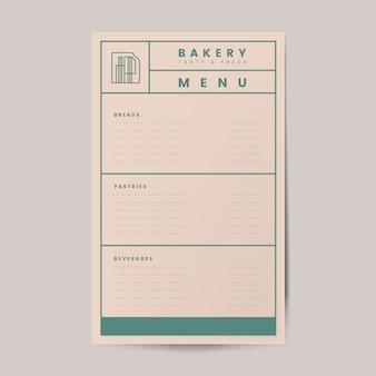 Vettore del modello del menu delle pasticcerie e delle bevande