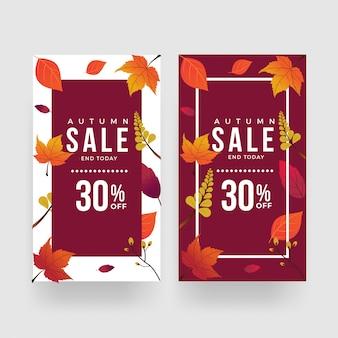 Vettore del modello dell'insegna di promozione di vendita di autunno