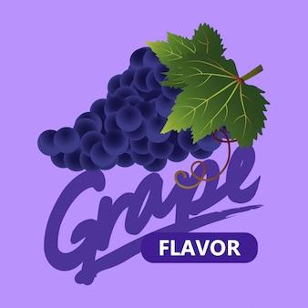 Vettore del modello dell'uva con etichetta
