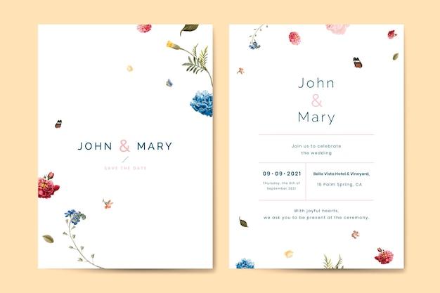 Vettore del modello della carta dell'invito di nozze del fiore