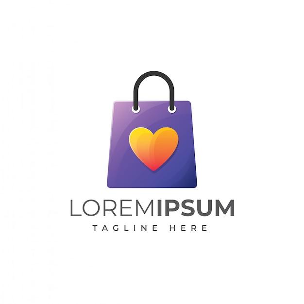 Vettore del modello di logo del sacchetto della spesa