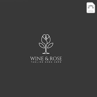 Vettore del modello di logo di rosa e del vino isolato, elementi dell'icona