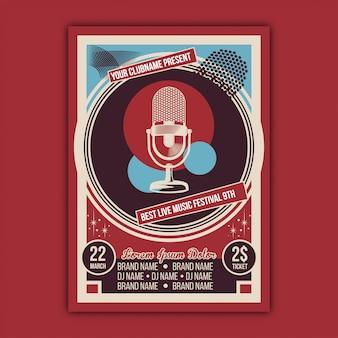 Vettore del modello di poster di evento di musica vintage