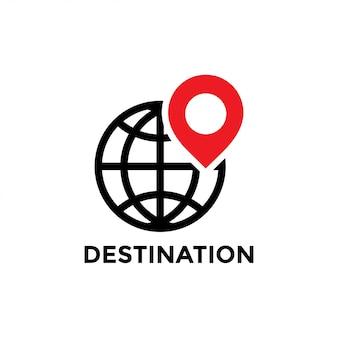 Vettore del modello di progettazione dell'icona della destinazione isolato