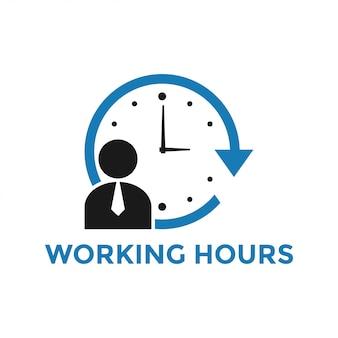 Vettore del modello di progettazione dell'icona delle ore lavorative isolato