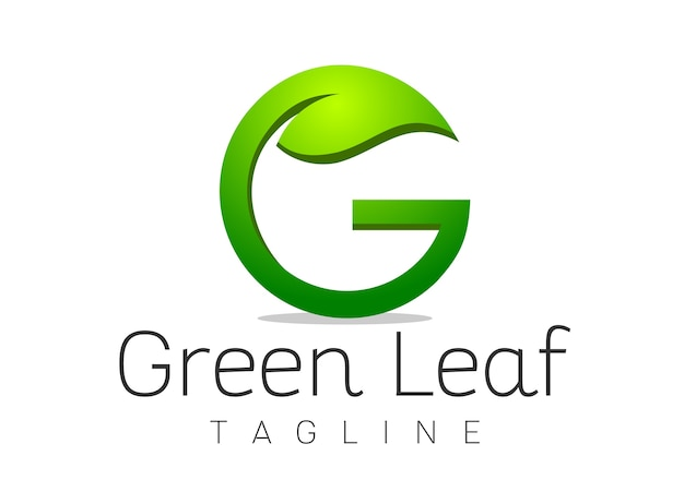 Vettore del modello di progettazione di logo della foglia di g della lettera