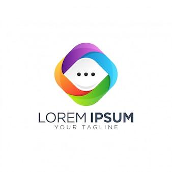 Vettore del modello di progettazione di logo di chiacchierata della bolla isolato