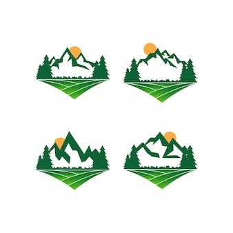 Vettore del modello di progettazione di logo di montagna