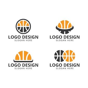 Vettore del modello di progettazione di logo di pallacanestro sul pacchetto