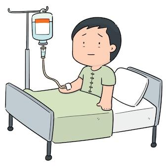 Vettore del paziente che usando medicina di infusione