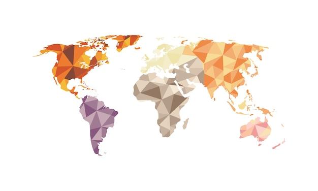 Vettore del poligono della mappa di mondo isolato su fondo bianco.