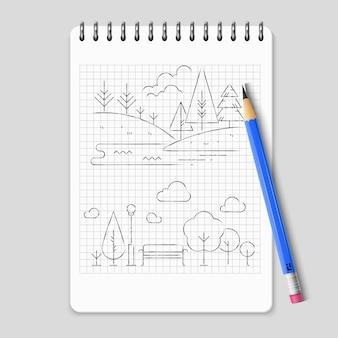 Vettore del profilo del paesaggio della natura del disegno a matita