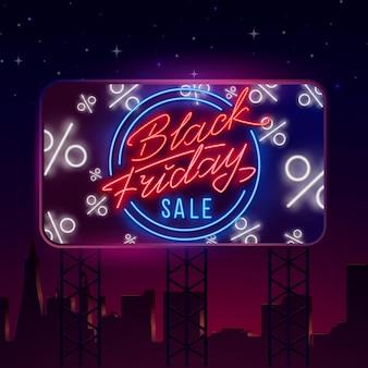 Vettore del segno al neon di vendita di black friday. insegna al neon, pubblicità luminosa serale