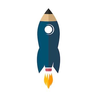 Vettore del segno dell'icona di logo della matita della razzo spaziale