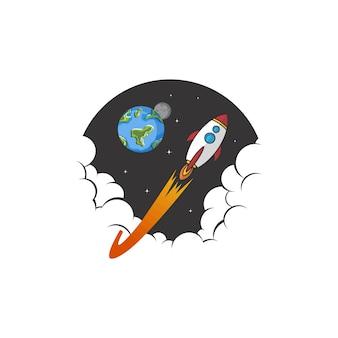 Vettore del segno dell'icona di logo della nave della navetta di esplorazione spaziale