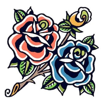 Vettore del tatuaggio della vecchia scuola delle rose blu e arancio
