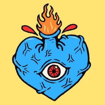 Vettore del tatuaggio della vecchia scuola di cyclops del cuore