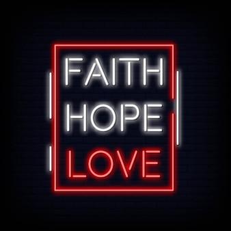 Vettore del testo dell'insegna al neon di amore di speranza di fede