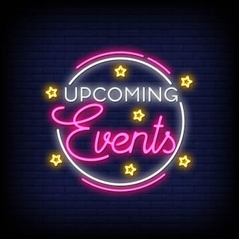Vettore del testo dell'insegna al neon di evento imminente