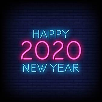 Vettore del testo di stile dell'insegna al neon del buon anno 2020