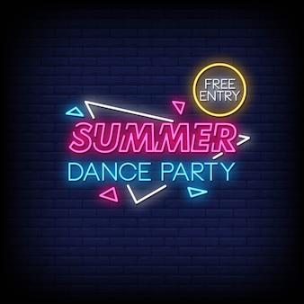 Vettore del testo di stile delle insegne al neon del partito di ballo di estate