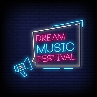 Vettore del testo di stile delle insegne al neon di festival di musica da sogno