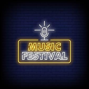 Vettore del testo di stile delle insegne al neon di festival di musica
