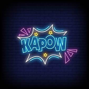 Vettore del testo di stile delle insegne al neon di kapow