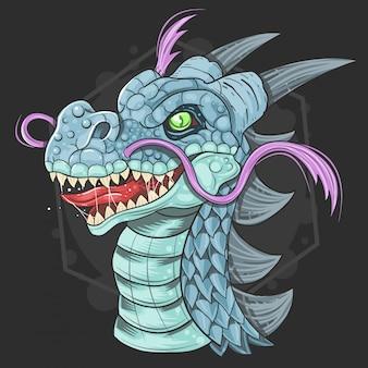 Vettore del volto sveglio del drago