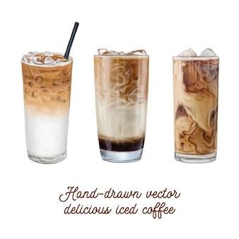Vettore delizioso caffè ghiacciato in vetro