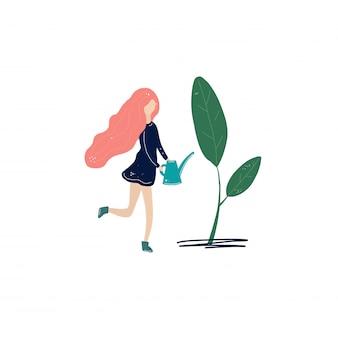 Vettore dell'acqua dei fiori della ragazza
