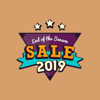 Vettore dell'emblema di vendita del nuovo anno 2019