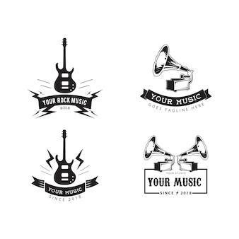 Vettore dell'etichetta dei distintivi di musica