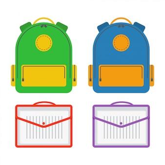 Vettore dell'icona della borsa di scuola. illustrazione di design piatto