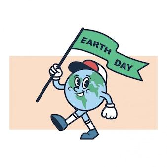 Vettore dell'illustrazione del carattere di giornata per la terra