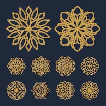 Vettore dell'illustrazione del pacchetto del modello di fiore della mandala
