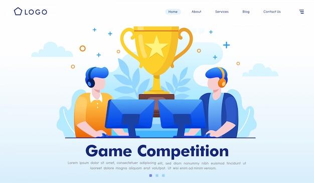 Vettore dell'illustrazione del sito web della pagina di atterraggio della concorrenza del gioco