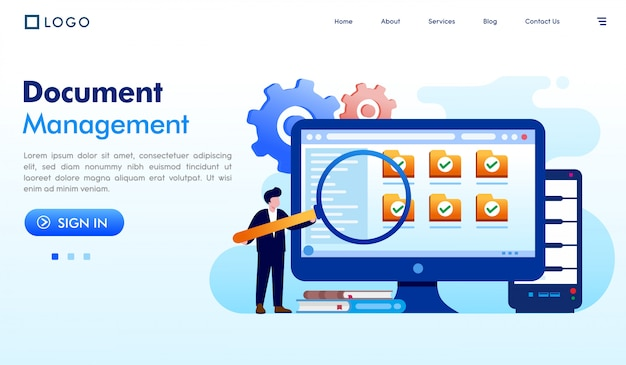 Vettore dell'illustrazione del sito web della pagina di atterraggio della gestione dei documenti
