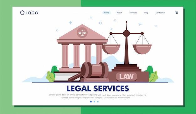 Vettore dell'illustrazione del sito web della pagina di atterraggio di servizi legali