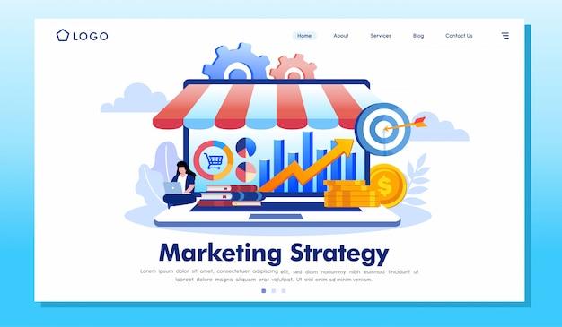 Vettore dell'illustrazione del sito web della pagina di atterraggio di strategia di marketing
