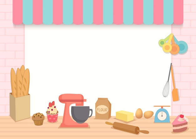 Vettore dell'illustrazione del telaio del forno con l'attrezzatura di cottura sulla cucina