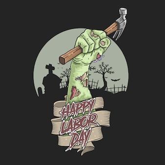 Vettore dell'illustrazione della mano delle zombie di festa del lavoro