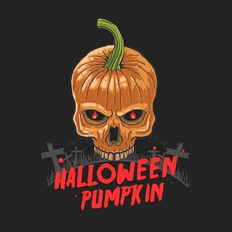 Vettore dell'illustrazione di incubo della zucca del cranio di halloween