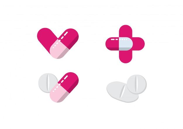 Vettore dell'illustrazione di sanità delle pillole della medicina