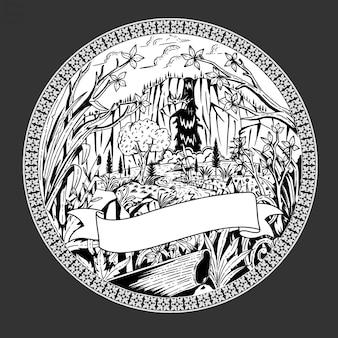 Vettore dell'illustrazione di schizzo della giungla