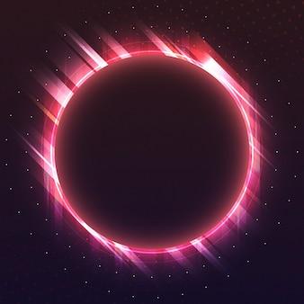 Vettore dell'insegna al neon del cerchio rosso in bianco