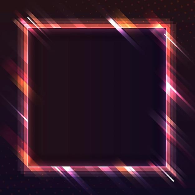 Vettore dell'insegna al neon del quadrato rosso in bianco