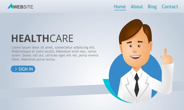 Vettore dell'intestazione della pagina web di sanità