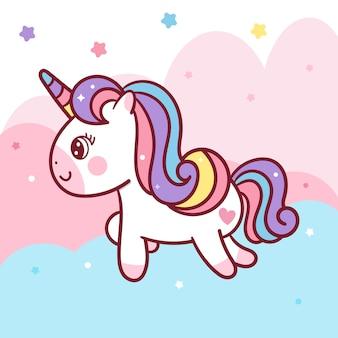 Vettore dell'unicorno sul cielo pastello
